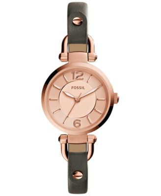 Fossil Women's Georgia Gray Leather Strap Watch 26mm ES3862