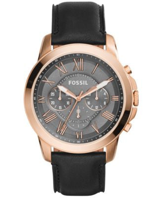 Fossil Men's Chronograph Grant Black Leather Strap Watch 45mm FS5085