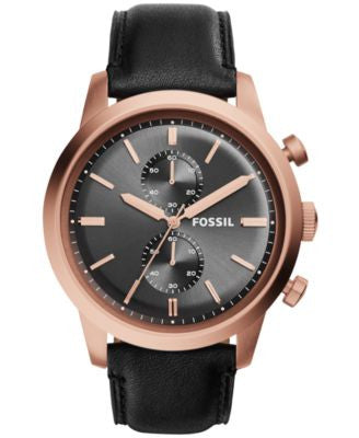Fossil Men's Chronograph Townsman Black Leather Strap Watch 48mm FS5097