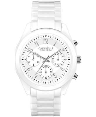 Caravelle New York by Bulova Women's Chronograph White Ceramic Bracelet Watch 36mm 45L145