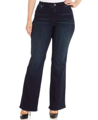 INC International Concepts Plus Size Slim Tech Phoenix Wash Bootcut Jeans, Only at Vogily