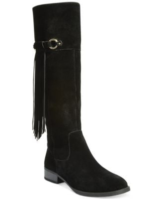 INC International Concepts Women's Fayer Wide Calf Fringe Boots, Only at Vogily