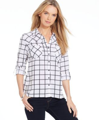 NY Collection Petite Windowpane Utility Shirt, Only at Vogily