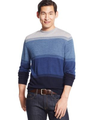 Club Room Merino Wool Colorblocked Crew-Neck Sweater, Only at Vogily