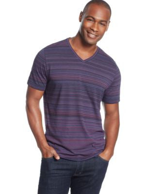 Alfani RED Striped V-Neck T-Shirt, Only at Vogily