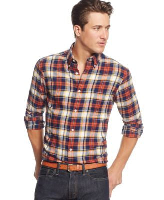 John Ashford Big and Tall Long Sleeve Plaid Shirt, Only at Vogily