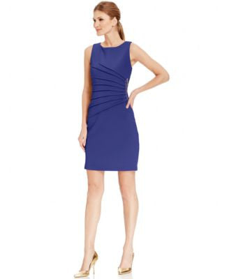 Ivanka Trump Pleated Zipper-Trim Scuba Sheath Dress