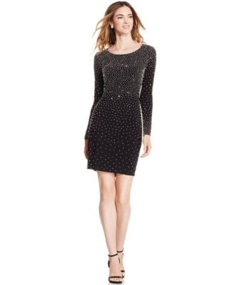 Xscape Shimmer-Studded Sheath Dress