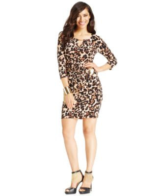Thalia Sodi Faux-Wrap Animal-Print Keyhole Dress, Only at Vogily