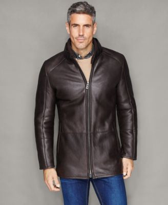 The Fur Vault Mens Shearling Lamb Stand-Collar Jacket