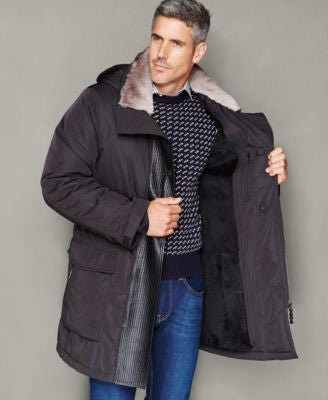 The Fur Vault Mens Rabbit-Fur-Collar Parka