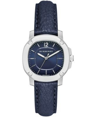Burberry Women's The Britain Blue Leather Strap Watch 34mm BBY1716