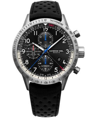 RAYMOND WEIL Men's Swiss Automatic-Chronograph Freelancer Piper Black Leather Strap Watch 45mm 7754-