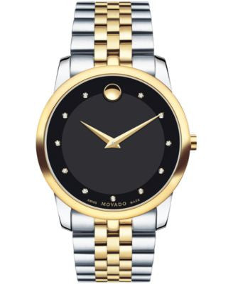 Movado Men's Swiss Museum Classic Diamond Accent Two-Tone PVD Stainless Steel Bracelet Watch 40mm 06