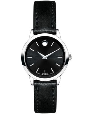 Movado Women's Swiss Automatic 1881 Automatic Black Leather Strap Watch 27mm 0606923