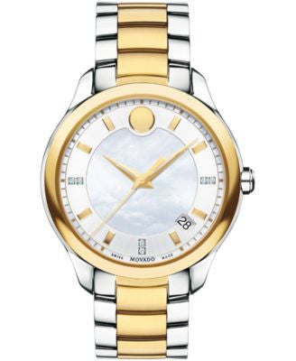 Movado Women's Swiss Bellina Diamond Accent Two-Tone PVD Stainless Steel Bracelet Watch 36mm 0606979