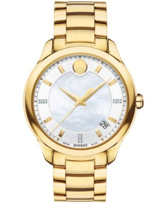 Movado Women's Swiss Bellina Diamond Accent Gold-Tone PVD Stainless Steel Bracelet Watch 36mm 060698