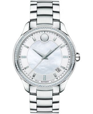Movado Women's Swiss Bellina Diamond Accent Stainless Steel Bracelet Watch 36mm 0606981
