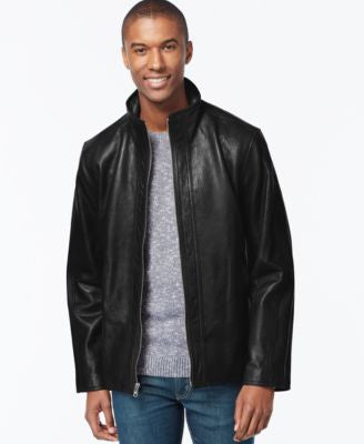 Marc New York Zip-Front Leather Jacket