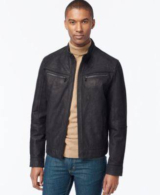 MICHAEL Michael Kors Washed Nubuck Leather Moto Jacket