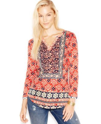 Lucky Brand Mixed-Print Top