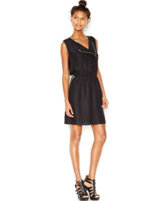 Bar III Sleeveless Moto Dress, Only at Vogily