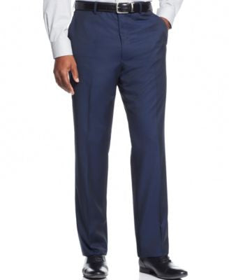 Shaquille O'Neal Collection Big and Tall Navy Solid Classic-Fit Pants, Only at Vogily