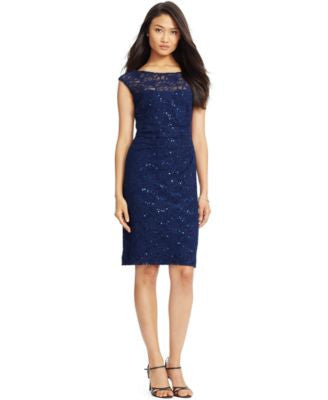 Lauren Ralph Lauren Petite Sequined Lace Sheath Dress