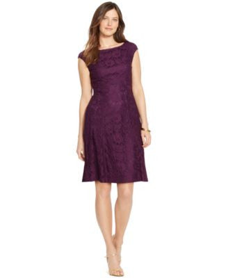 American Living Floral-Lace Cap-Sleeve Dress