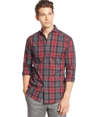 Vince Camuto Men's Shortshirt Plaid Long-Sleeve Shirt