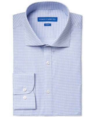 Vince Camuto Slim-Fit Blue Gingham Dobby Dress Shirt