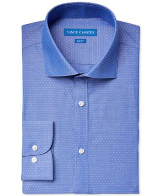Vince Camuto Slim-Fit Blue and White Pin-Dot Dress Shirt
