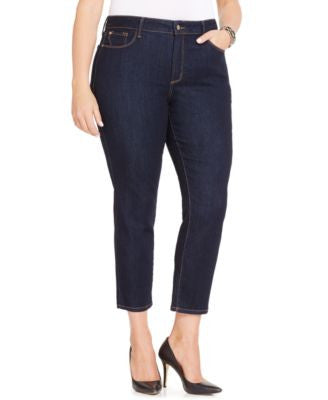 NYDJ Plus Size Ira Slim-Leg Ankle Jeans, Dark Enzyme Wash