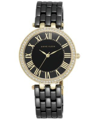 Anne Klein Women's Black Ceramic Bracelet Watch 34mm AK/2130BKGB