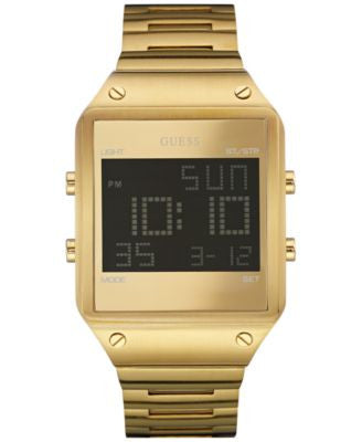 GUESS Men's Digital Gold-Tone Bracelet Watch 55x38mm U0596G3