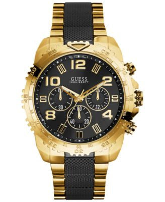 GUESS Men's Chronograph Black and Gold-Tone Stainless Steel Bracelet Watch 45mm U0598G4
