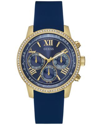GUESS Women's Blue Silicone Strap Watch 42mm U0616L2