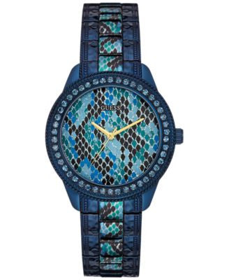 GUESS Women's Blue Python Print Ion-Plated Steel Bracelet Watch 38mm U0624L3
