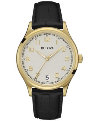 Bulova Men's Black Leather Strap Watch 40mm 97B147
