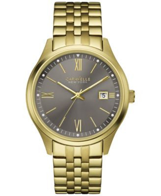 Caravelle New York by Bulova Men's Gold-Tone Stainless Steel Bracelet Watch 41mm 44B111