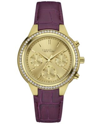 Caravelle New York by Bulova Women's Chronograph Purple Leather Strap Watch 36mm 44L182