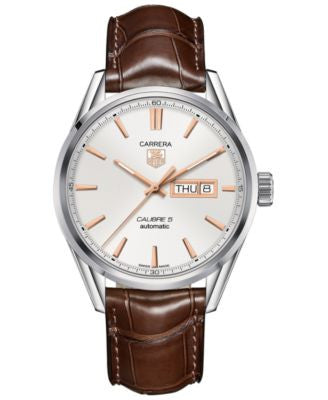 TAG Heuer Men's Swiss Automatic Carrera Calibre 5 Brown Leather Strap Watch 41mm WAR201D.FC6291