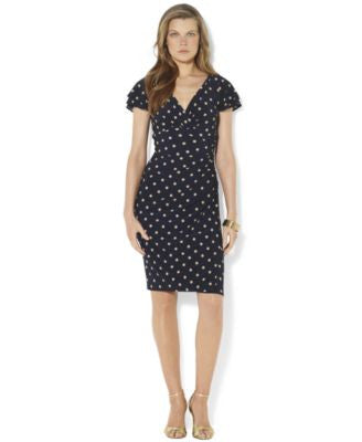 Lauren Ralph Lauren Dot-Print Flutter-Sleeve Dress
