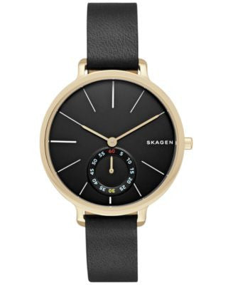 Skagen Women's Chronograph Hagen Black Leather Strap Watch 34mm SKW2354