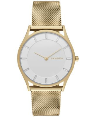 Skagen Women's Holst Gold-Tone Stainless Steel Mesh Bracelet Watch 34mm SKW2377