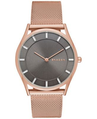 Skagen Women's Holst Rose Gold-Tone Stainless Steel Mesh Bracelet Watch 34mm SKW2378