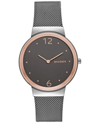 Skagen Women's Freja Smoke-Tone Stainless Steel Mesh Bracelet Watch 34mm SKW2382