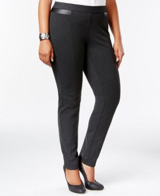 Alfani Plus Size Faux-Leather-Inset Skinny Pants, Only at Vogily