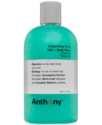 Anthony Invigorating Rush Hair & Body Wash, 12 oz