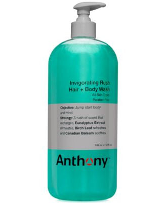 Anthony Invigorating Rush Hair & Body Wash, 32 oz